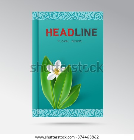 Vector modern design a book cover with flowering jasmine - stock vector