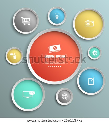 Vector Modern Design Circle template background with icons. can used for workflow layout, diagram, number options, web design, infographics, business brochure. - stock vector