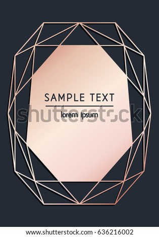 Vector modern design template for wedding or birthday invitation, brochure, poster or business card. Black background with geometric diamond. Rose gold