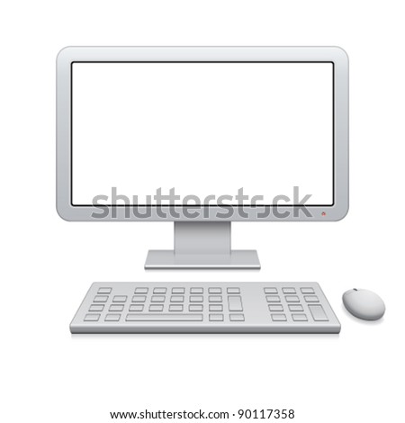 Vector modern desktop computer with a blank widescreen monitor, wireless keyboard and mouse