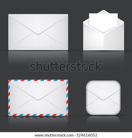 Vector modern envelope or mail set on gray background - stock vector