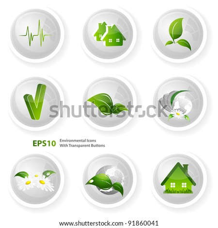 vector modern environmental icons set with transparent buttons over white. Eps10 - stock vector