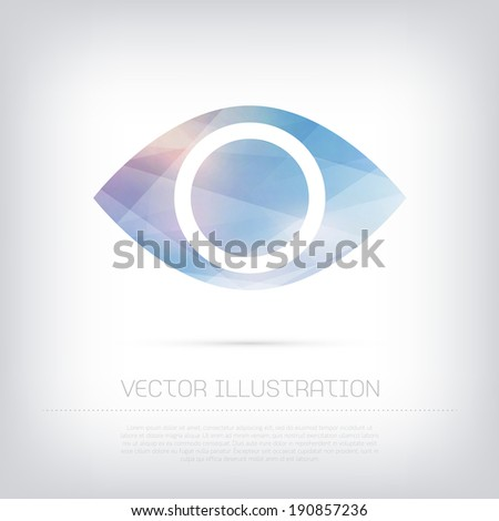Vector modern eye icon with colorful trendy and modern polygonal texture - stock vector