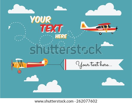 Vector modern flat concept design on flying advertising banners pulled by light plane. Ideal for web banners and printable materials - stock vector