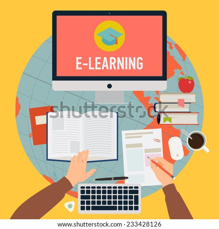 Vector modern flat concept design on online education process | Creative illustration on e-learning process featuring human hands, book, test blank, personal desktop computer and more, top view - stock vector