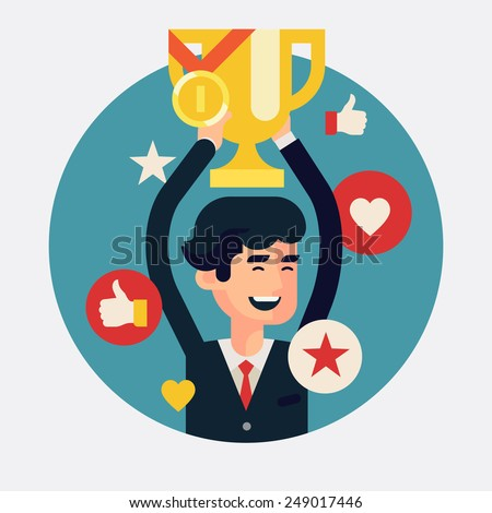 Vector modern flat concept round presentation design element on victory and success in business and industry with businessman holding golden award bowl above his head with like thumbs, hearts, stars - stock vector