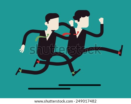 Vector modern flat design abstract illustration on running business people in rush competing | Two different businessmen competition run, isolated, full length | Leader and outsider dashing run - stock vector