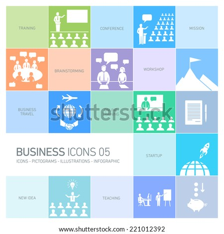 vector modern flat design business icons and illustrations set of training, businessman on conference or workshops white pictograms and infographics isolated on colorful background - stock vector