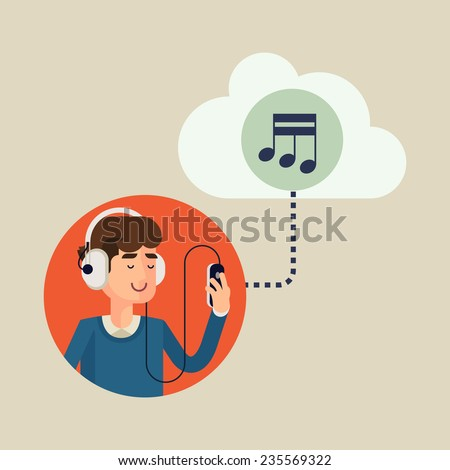 Vector modern flat design concept illustration of casual clothed man wearing earphones listening music on his smart phone using online cloud service | Favorite music is always available - stock vector