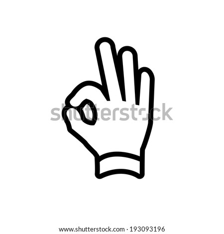 vector modern flat design hand ok fingers gesture icon black isolated on white background - stock vector