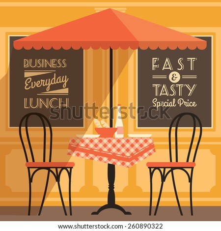 Vector modern flat design illustration of street cafe. - stock vector