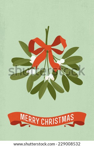 Vector modern flat design illustration on christmas mistletoe with red bow and 'merry christmas' title on ribbon  - stock vector