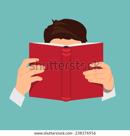 Vector modern flat design illustration on man reading book with empty red cover | Male character with face hidden behind the book in his hands - stock vector