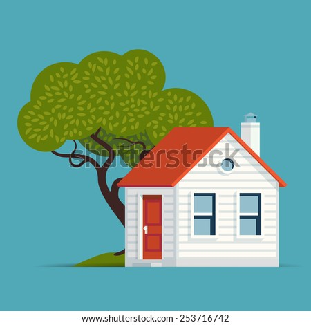 Vector modern flat design illustration on suburban residential real estate and housing featuring classic small house building with tree | Real estate web icon - stock vector
