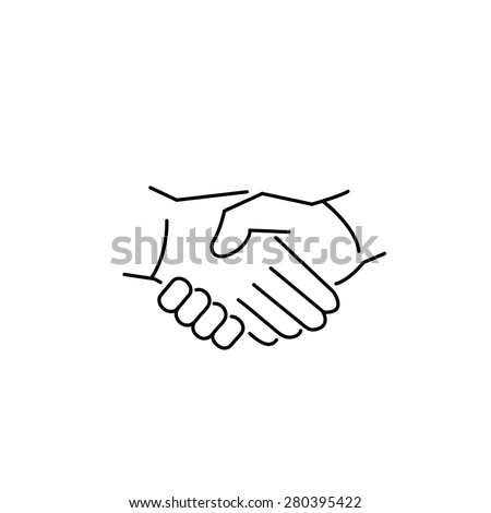 vector modern flat design linear icon of handshake gesture   black thin line pictogram isolated on white background - stock vector