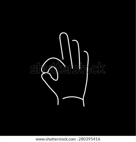 vector modern flat design linear icon of okay hand gesture | white thin line pictogram isolated on black background - stock vector