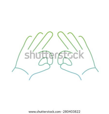 vector modern flat design linear icon of two hands creasing gesture | thin line pictogram with green and blue gradient isolated on white background