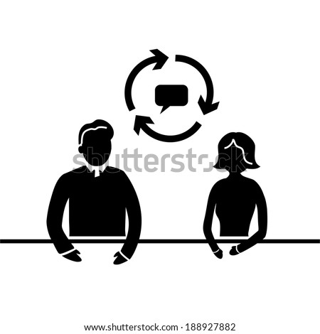 vector modern flat design mentoring and coaching interview soft skills icon black isolated on white background - stock vector