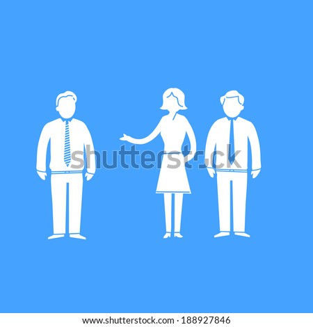 vector modern flat design negotiation and dealing soft skills icon white isolated on blue background - stock vector