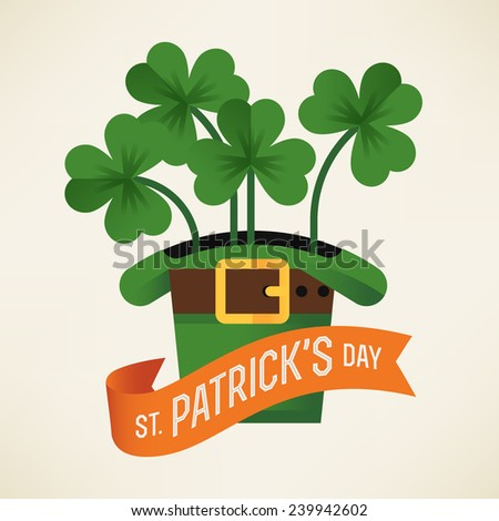 Vector modern flat design on Happy Saint Patrick's Day featuring leprechaun hat with shamrock leaves and orange ribbon with greeting text - stock vector