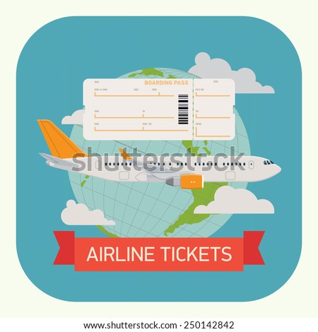 Vector modern flat design round corners icon on airline tickets with jet airliner flying, boarding pass blank and globe with clouds on background | Airfare booking web application icon - stock vector
