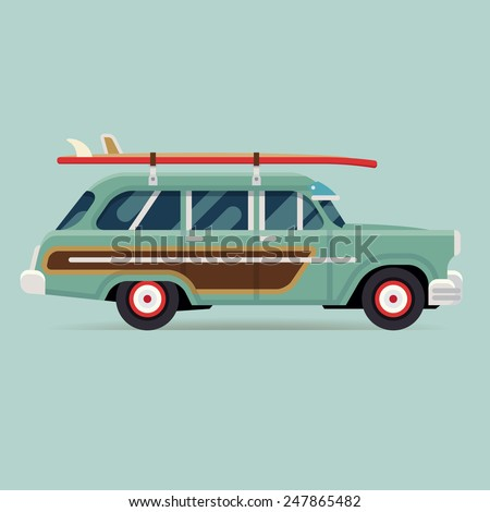 Vector modern flat design round corners transport vehicle icon on surf trip destination retro woodie wagon car with surfboards - stock vector