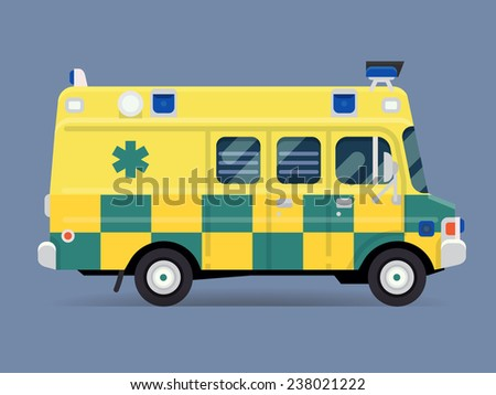Vector modern flat design special vehicle icon on yellow and blue checkered ambulance van, isolated | Emergency paramedic car symbol, side view - stock vector