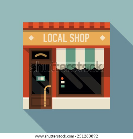 Vector modern flat design square architecture detailed icon on retro style local shop store facade with awning | Small business icon with store facade - stock vector