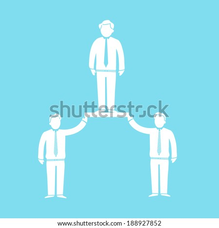 vector modern flat design support and cooperation in team soft skills icon white isolated on blue background - stock vector