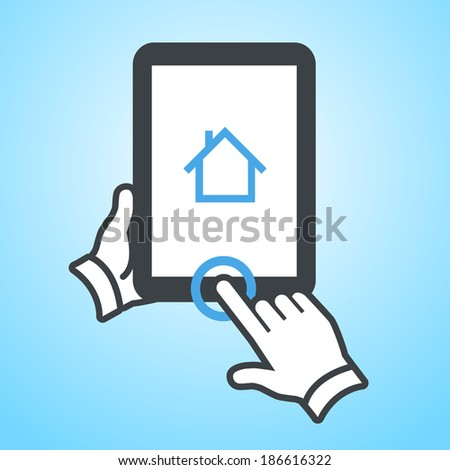 vector modern flat design tablet touch screen click on home button icon gesture with one finger on blue background