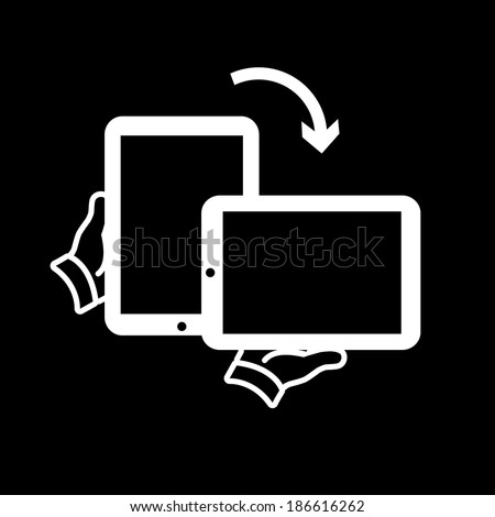 vector modern flat design tablet touch screen rotation icon wit hand holding device white isolated on black background - stock vector