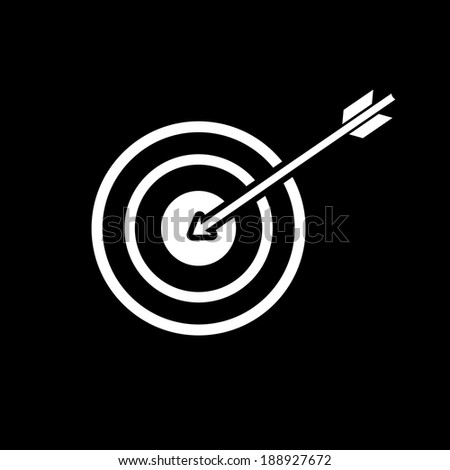 vector modern flat design target to goal and focus soft skills icon wit arrow white isolated on black background - stock vector