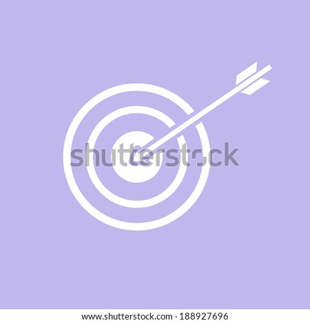 vector modern flat design target to goal and focus soft skills icon wit arrow white isolated on purple background - stock vector