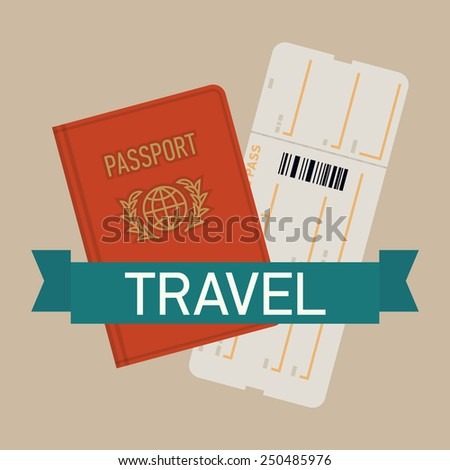 Vector modern flat design web icon on travel and tourism featuring red covered passport with boarding pass airline ticket, isolated - stock vector