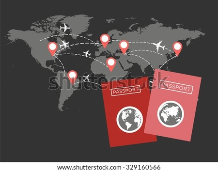 Vector modern flat design web icon travel with jet airliner flying, passport,  location and globe|  - stock vector