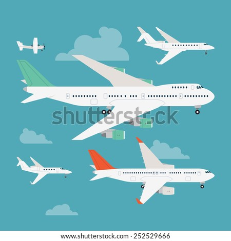 Vector modern flat design web icons on flying commercial and private personal transport passenger jet and single engine air planes, airliner, business jet, jumbo jet, side view with wings, isolated - stock vector