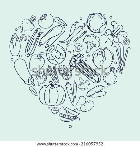 Vector modern flat heart shaped line art vegetables composition, dark contour on bright background | Vegetables heart design element | Vegetarian decoration heart shaped element - stock vector