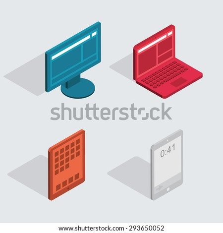 Vector modern flat icons set. Computer tablet, laptop, monitor,smartphone - stock vector