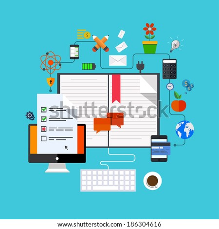 Vector modern flat icons set. Education background. Eps 10 - stock vector