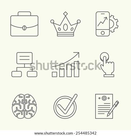 Vector modern flat line design icons set on business, social media, digital management, networking, task managing, coordination, gamification, marketing, training, development, planning, goals, rules - stock vector