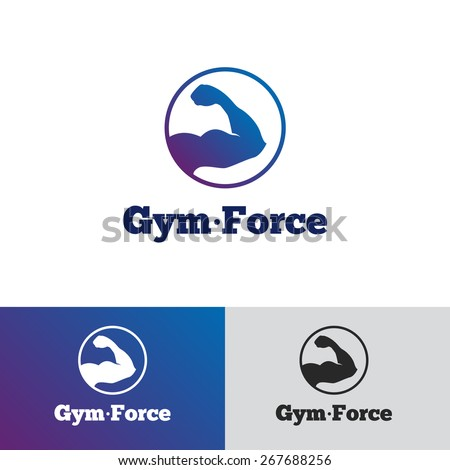Vector modern gradient round minimalistic gym logo. Fitness club logotype. - stock vector