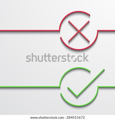 Vector modern green and red check mark on white background - stock vector