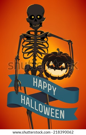 Vector modern halloween template: spooky dark colored cartoon human skeleton character with glowing orange eyes and lit pumpkin lantern | Creepy skeleton with scary jack-o'-lantern postcard design - stock vector