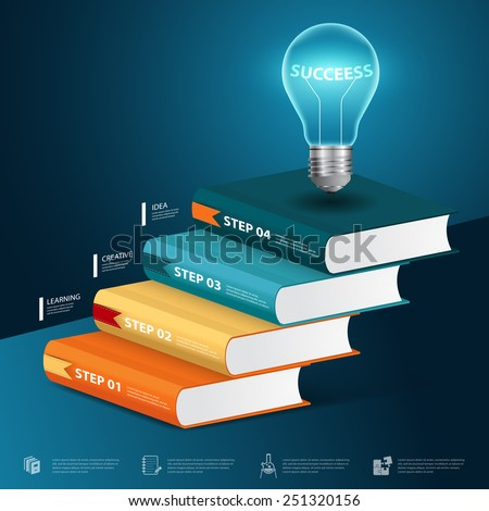 vector modern infographic Template with book education and bulb success concept