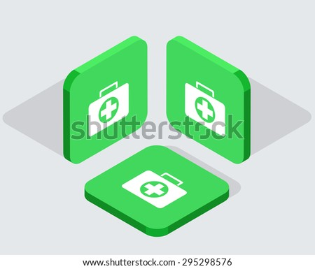Vector modern 3 isometric  app icons with shadows on gray background - stock vector