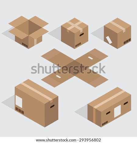 Vector modern isometric cardboard icons set on gray background. Eps10 - stock vector