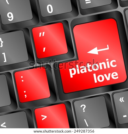 vector Modern keyboard key with words platonic love