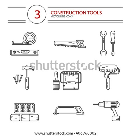 Vector modern line style icons set of construction tools: hammer and nails, screwdriver, wrench, pliers, paint roller, paint bucket, brush, drill, tape line, scale, bricks, saw, hacksaw. - stock vector