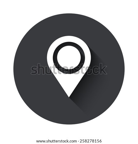 Vector modern map pointer gray circle icon on white background - stock vector