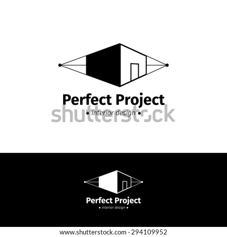 Vector modern minimalistic house design logo. Black and white interior logotype - stock vector